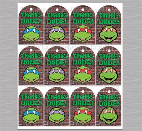 Spiderman Bedroom Decorations Tmnt Favor Thank You Tags Printable From Doodlebugcraftz
