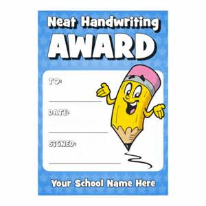 neat handwriting award certificate available at