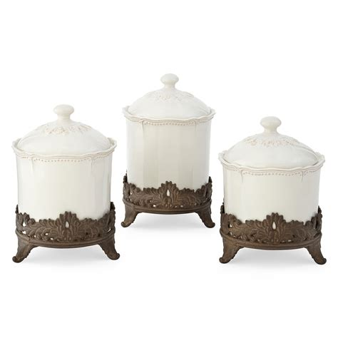 3 Piece Kitchen Canister Set by Tea Rose Small Sealed Canister Set 3 Pc From Pfaltzgraff