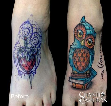 owl cover up tattoos owl on books cover up by shanti tattoos