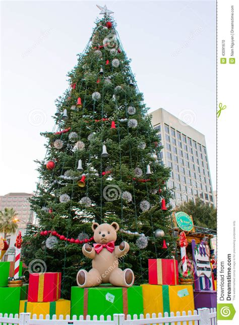 giant christmas tree with presents stock photo image