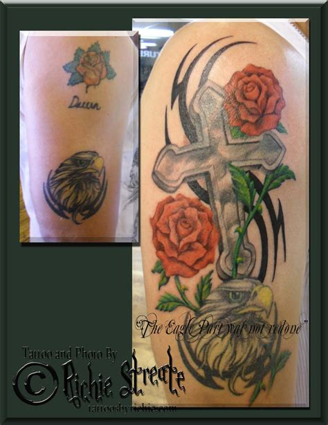 cross tattoo cover up ideas cross and roses cover up cover up tattoos by