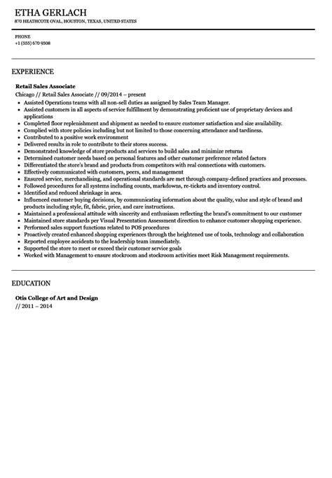 sales associate resume enchanting sales associate resumes