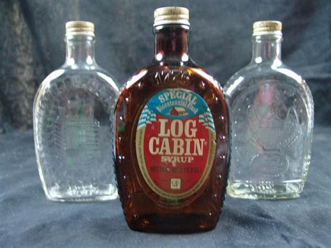 Log Cabin Syrup History by Set Of 3 Log Cabin Syrup Bottles Ebay