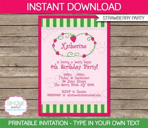 Strawberry Shortcake Invitation Template Birthday Party Instant Download With Editable Text Strawberry Shortcake Invitation Template Free