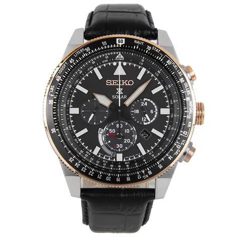Seiko Prospex Sky Ssc611p1 Solar Chronograph Black Leather seiko prospex sky solar pilot ssc611p1 ssc611
