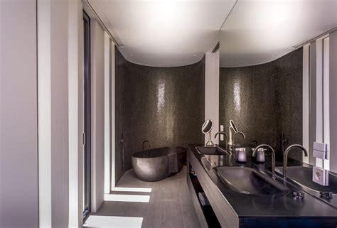 bathroom dark a cool beachfront villa with geometric architecture