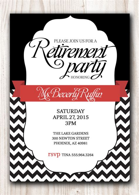 Free Printable Retirement Invitations Retirement Invitation Black With A Touch Of Or