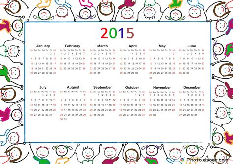 Kostenloser Kalender 2015 Free 2015 Printable Calendar For Elsoar