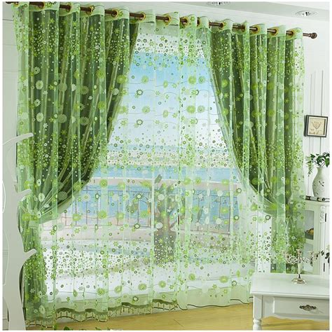 chinese curtains aliexpress com buy flower design fininshed organza green