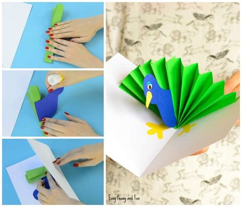 Paper Craft Cards - peacock pop up card paper craft easy peasy and