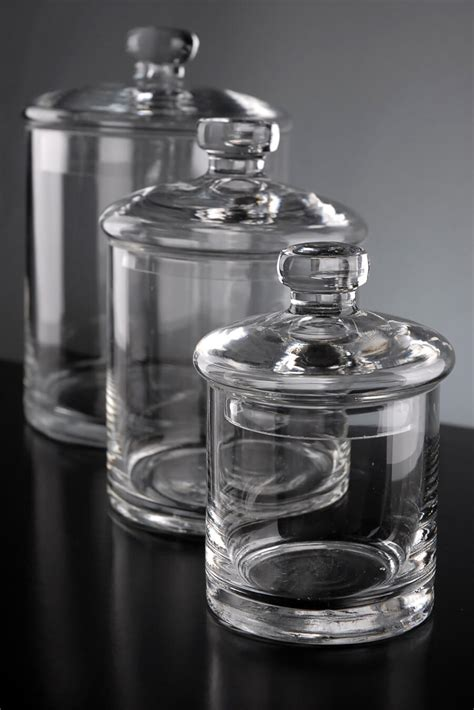 clear glass kitchen canisters set of 3 clear glass apothecary canister jars 5 quot 7 quot 9 quot