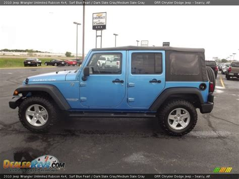 Blue Grey Jeep Wrangler 2010 Jeep Wrangler Unlimited Rubicon 4x4 Surf Blue Pearl