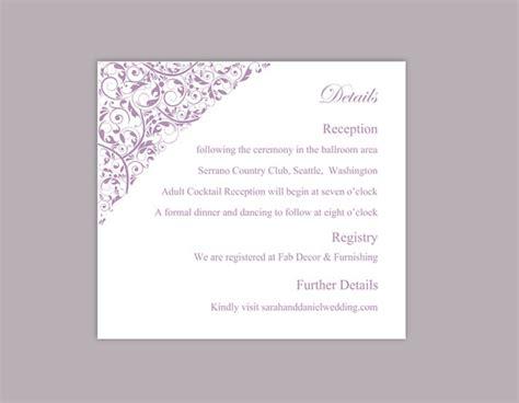 wedding details card template free diy wedding details card template editable word file