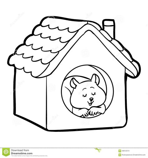 children s about a coloring book coloring book for children hamster and house stock vector
