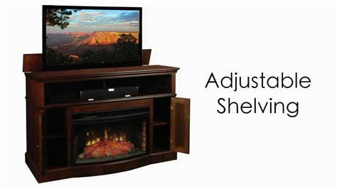 fireplace tv lift huntington tv lift cabinet with electric fireplace