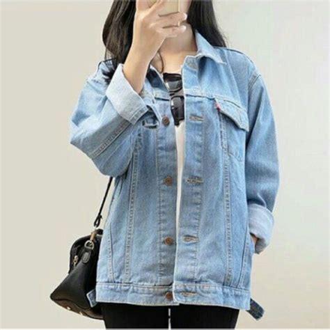 Jual Celana Boyfriend Polos Biru Muda Wanita Cewek Hadiah Pria jaket levis oversize bio blitz biru muda shopee indonesia