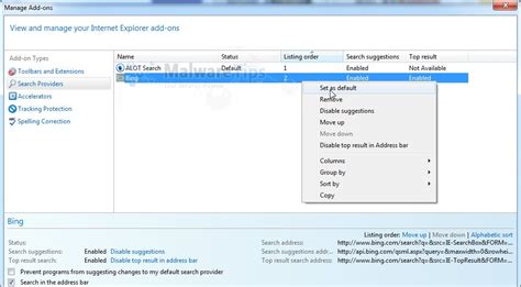 bing search bar internet explorer remove alot toolbar and search alot com removal guide