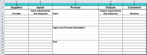 Sipoc Diagram In Excel Supplier Input Output Sipoc Template Excel