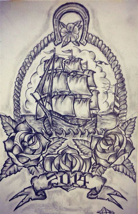 nautical rose tattoo ship sketch by ranz