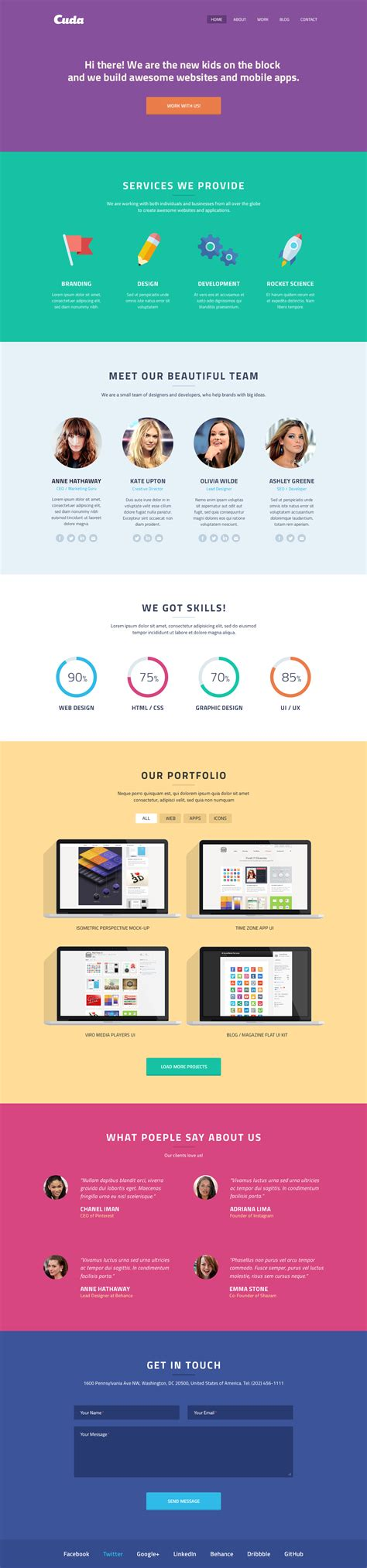 one page template cuda single page portfolio template graphicburger
