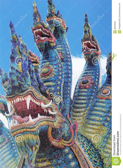 thai dragon king  naga statue  temple thailand stock