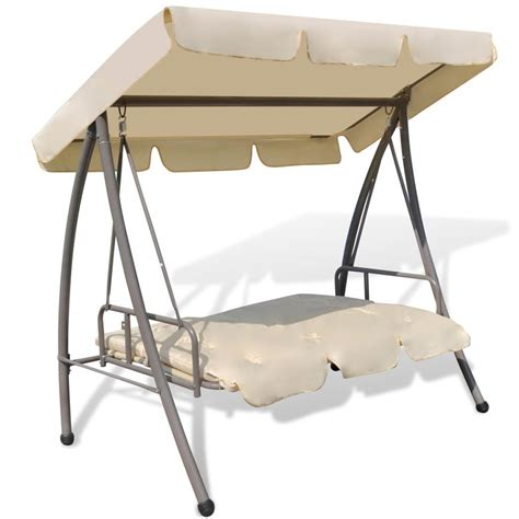 swing chair with canopy outdoor swing chair bed with canopy sand white vidaxl
