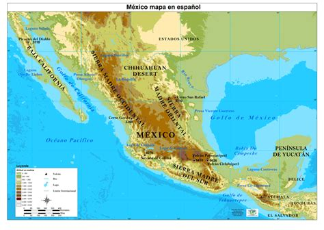physical maps of mexico mexico map physical