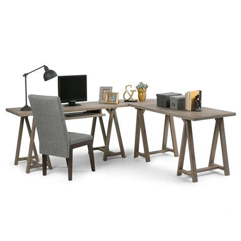 simpli home sawhorse computer desk simpli home sawhorse l shaped home office desk in