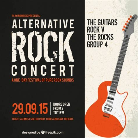 templates for music posters alternative rock concert poster vector free download