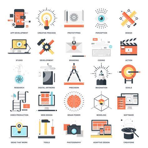 design concept graphic vector set of creative process flat web icons