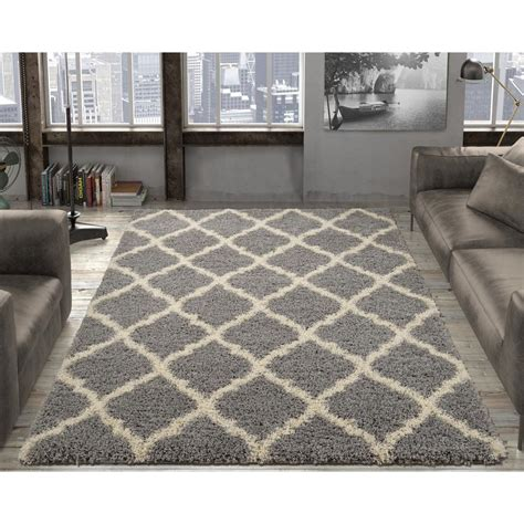 Modern Grey Rug Ottomanson Ultimate Shaggy Contemporary Moroccan Trellis Design Grey 3 Ft 3 In X 4 Ft 7 In