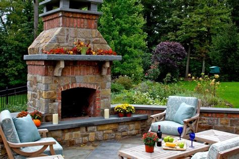 backyard brick fireplace stone brick fireplace anchor this outdoor livingroom traditional patio new