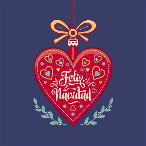 feliz navidad xmas card  spanish language warm wishes  happy holidays stock vector