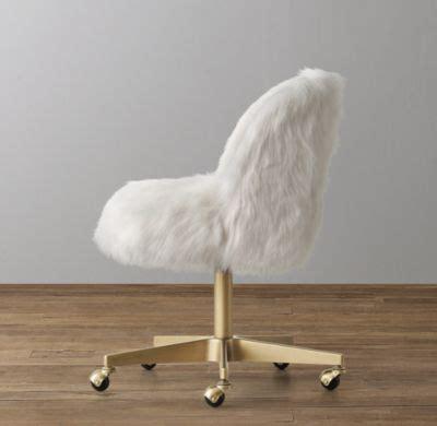 desk chair with fur alessa white kashmir faux fur desk chair antiqued brass