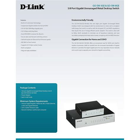 D Link 5 Port Gigabit Unmanaged Desktop Switch Dgs 105 E d link 5 port unmanaged gigabit metal desktop switch