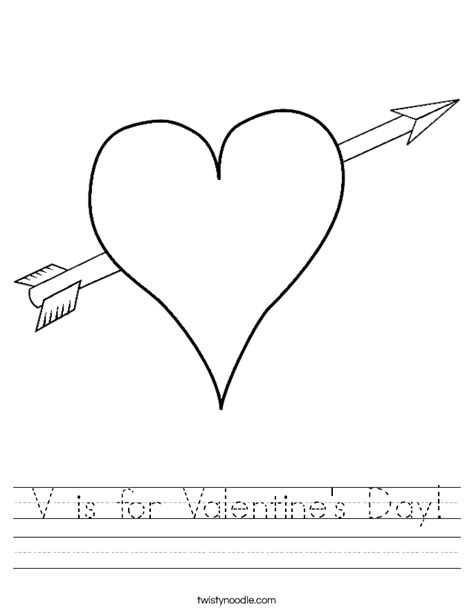 v is for valentine s day worksheet twisty noodle