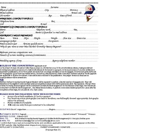 Miss Beauty Pageant Competition Application Forms And Rules Of Miss Durban Townships Beauty Pageant Pageant Registration Form Template