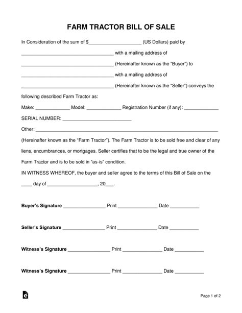 Farms Golf Receipt Template by Free Farm Tractor Bill Of Sale Form Pdf Word Eforms