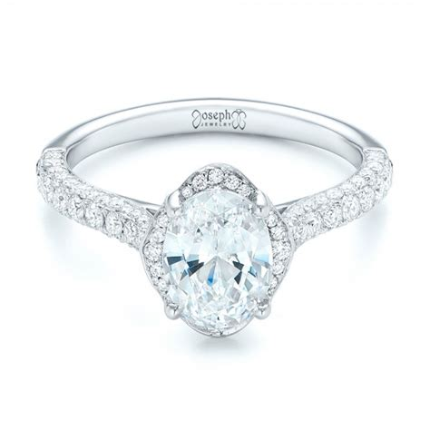 oval halo and pave engagement ring 102556