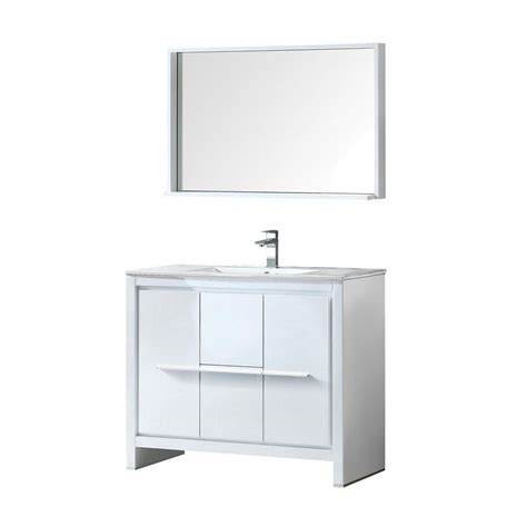 Ceramic Vanity Top by Fresca Allier 40 In Vanity In White With Ceramic Vanity