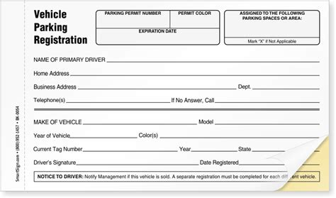 Parking Permit Log Books Myparkingpermit Vehicle Information Form Template