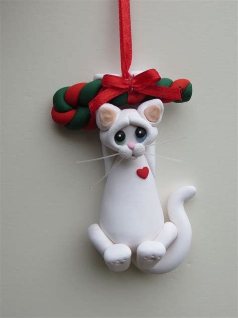 white cat christmas ornament polymer clay cute