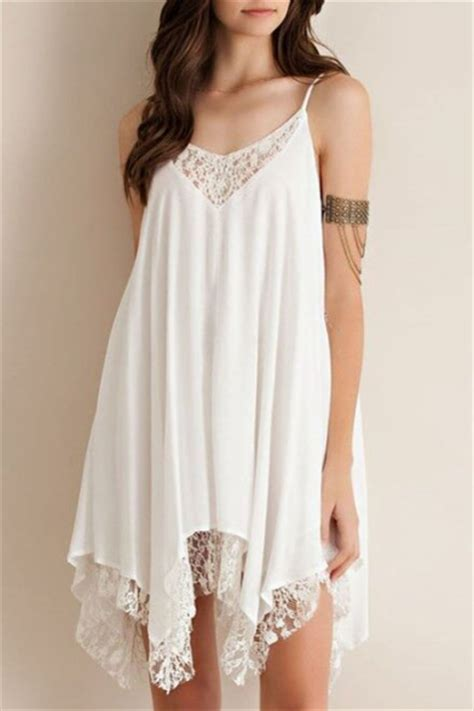 swing chiffon kleid relaxed crochet paneled asymmetrical hem swing cami dress