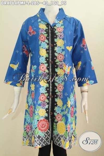 Baju Korpri Wanita Furing Size baju dress batik size l warna biru motif bunga keren banget pakaian batik wanita karir daleman