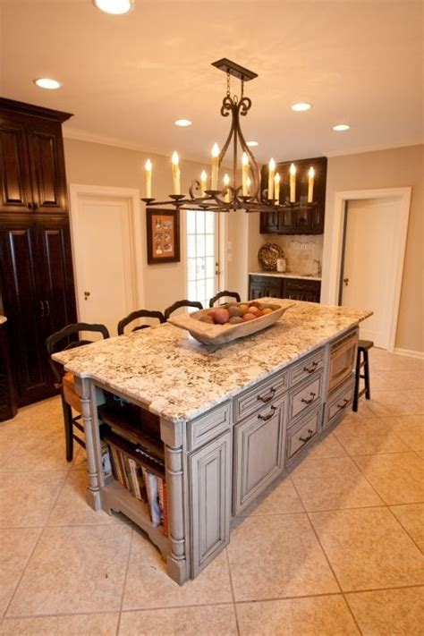 rustic kitchen islands with seating large rustic chandeliers within over white marble top