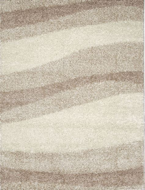 Contemporary Modern Shag Ivory Beige Area Rug Waves Shaggy