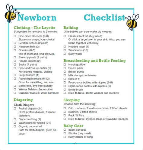New Baby Supply Checklist 9 Newborn Checklist Sles Sle Templates