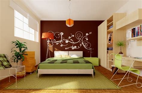green bedroom feature wall green brown orange modern bedroom interior design ideas