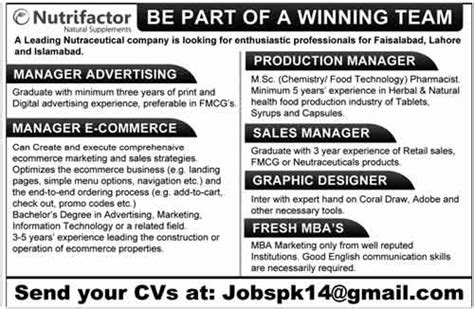 open 2014 in leading nutraceutical company faisalabad lahore islamabad for managers